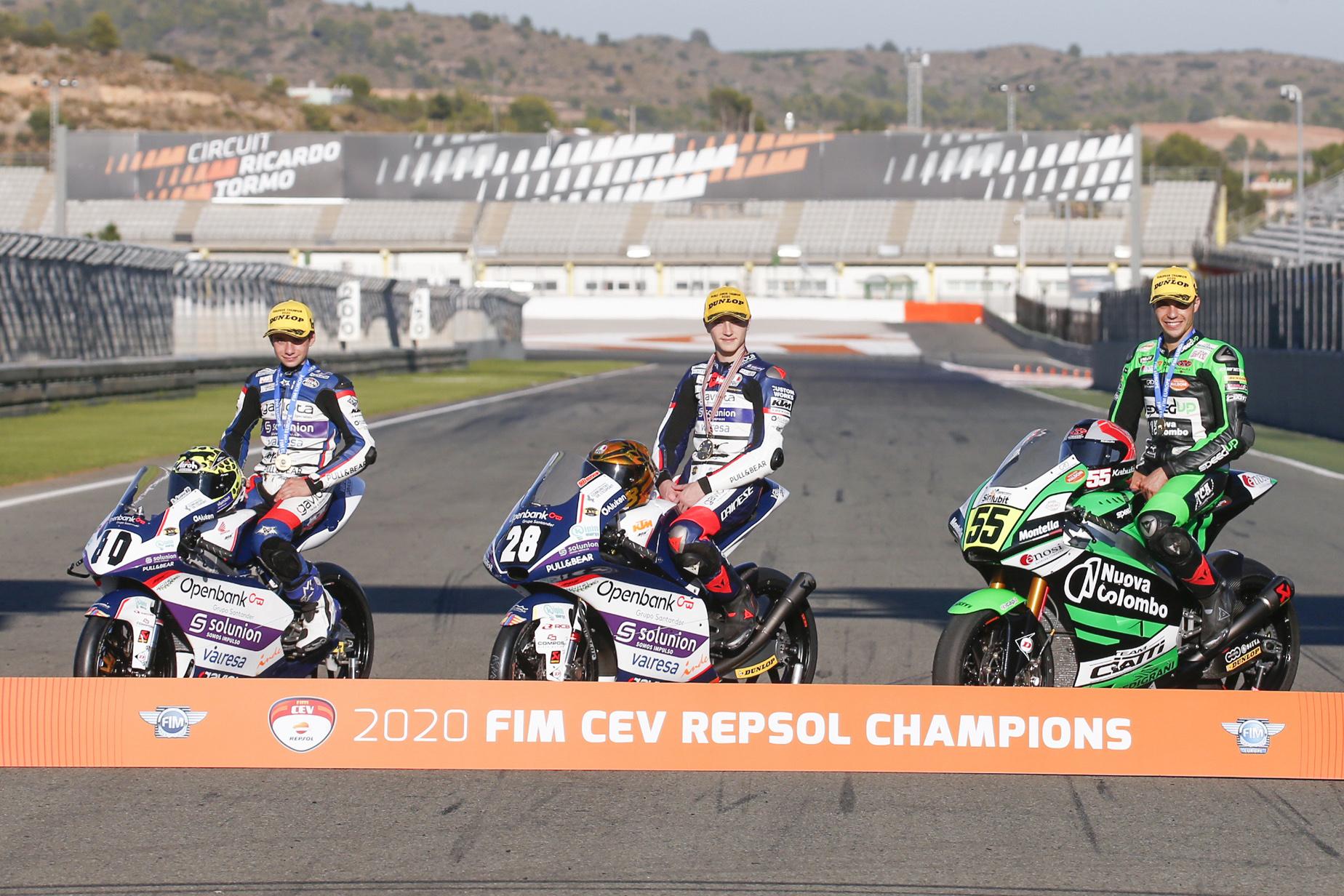 Izan Guevara, Yari Montella y David Alonso, Campeones del FIM CEV Repsol 2020