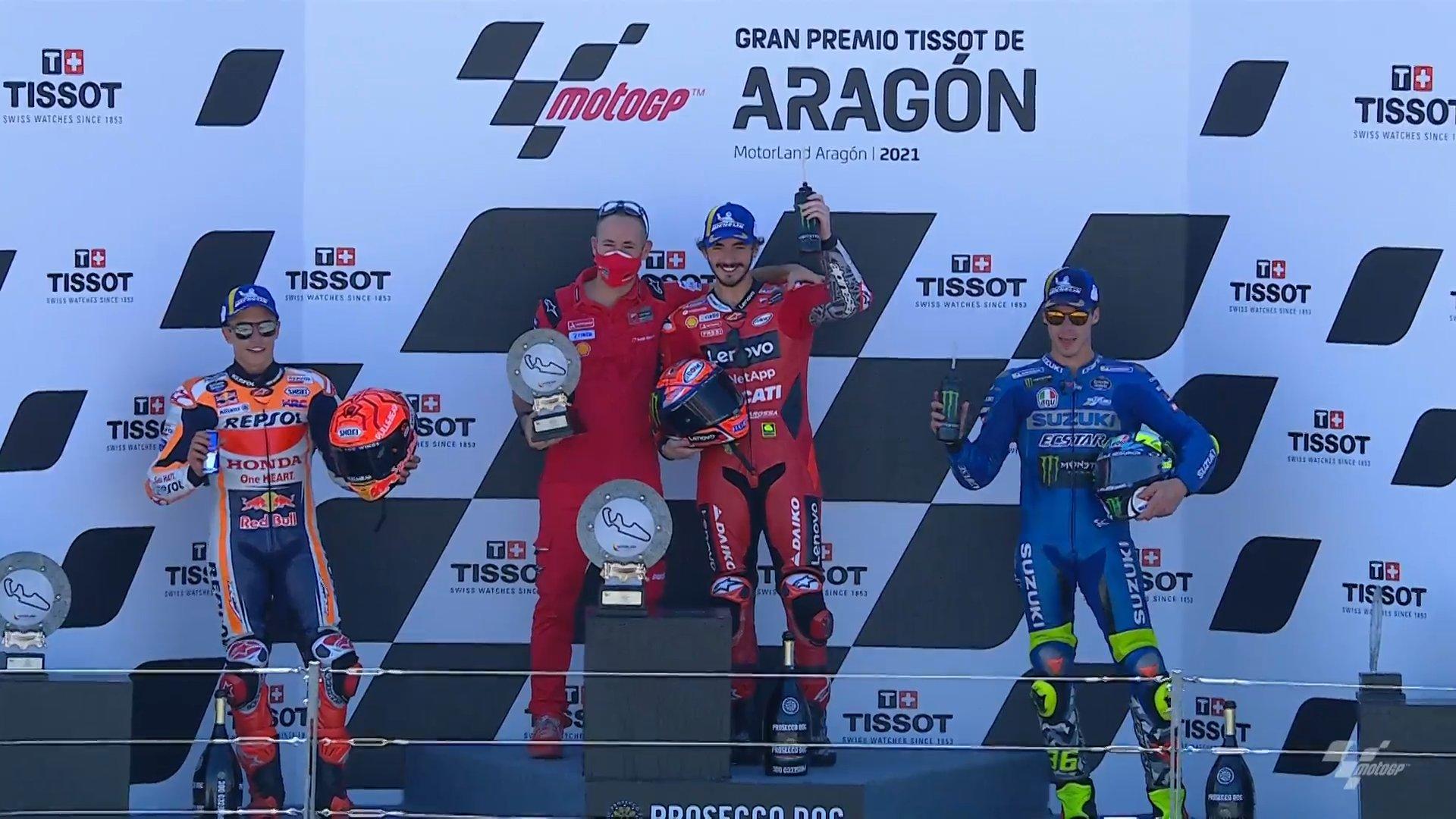 Bagnaia consigue su primera victoria en MotoGP en Aragón