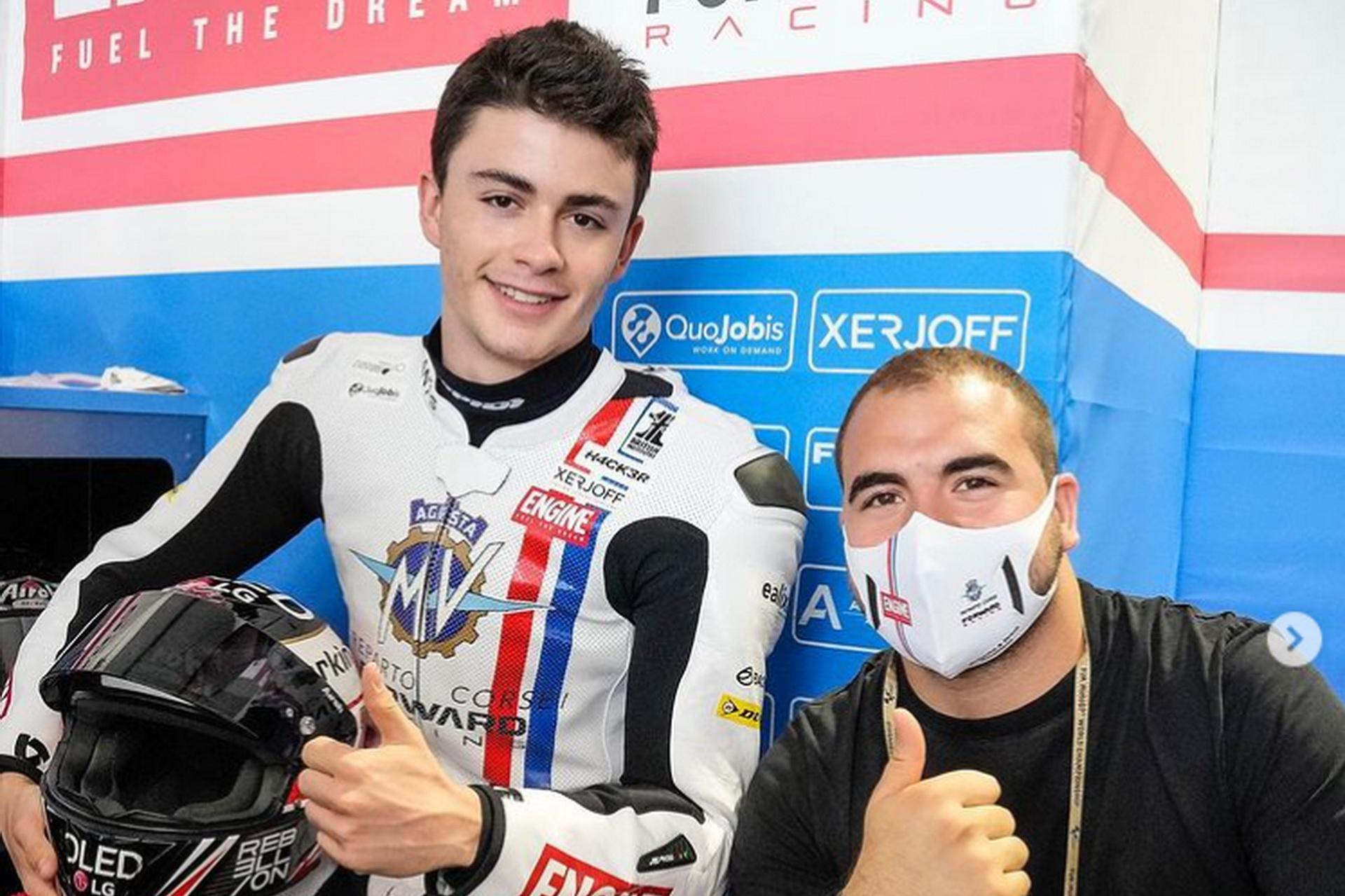 Manu González con el Forward Racing en el Gran Premio de Aragón